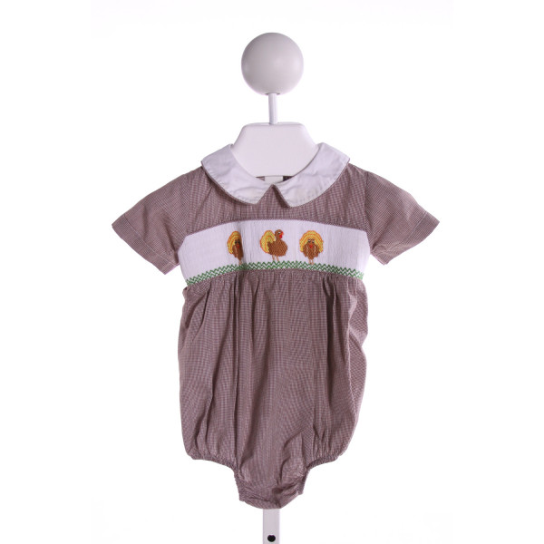 SILLY GOOSE  BROWN  MICROCHECK SMOCKED BUBBLE