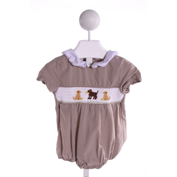 SMOCKINGBIRD  BROWN  GINGHAM SMOCKED BUBBLE