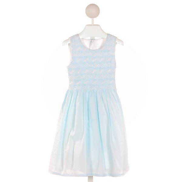 ISABEL GARRETON  AQUA  SWISS DOT SMOCKED DRESS