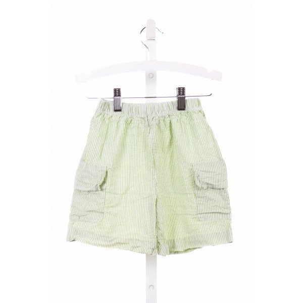 MONDAY'S CHILD  GREEN SEERSUCKER STRIPED  SHORTS