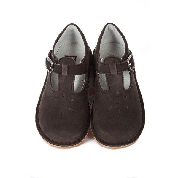 L'AMOUR BROWN SUEDE T-STRAP SHOES TODDLER SIZE 11