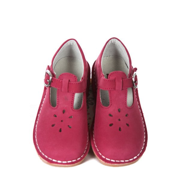 L'AMOUR FUCHSIA SUEDE T-STRAP SHOES TODDLER SIZE 11