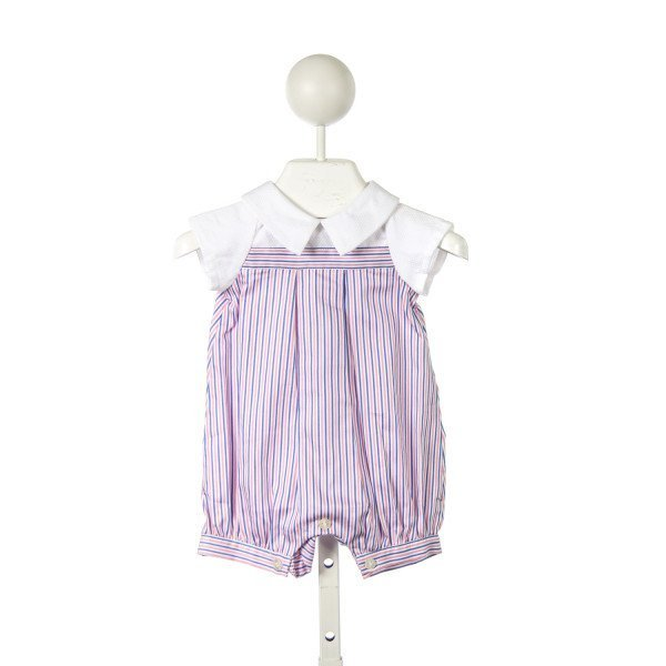 ELEPHANTITO PINK AND BLUE STRIPED ROMPER