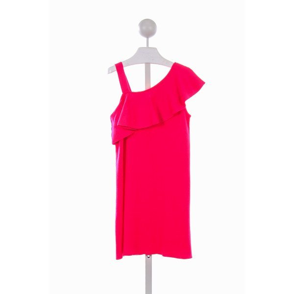 MILLY MINIS HOT PINK SWEATER KNIT DRESS WITH RUFFLE