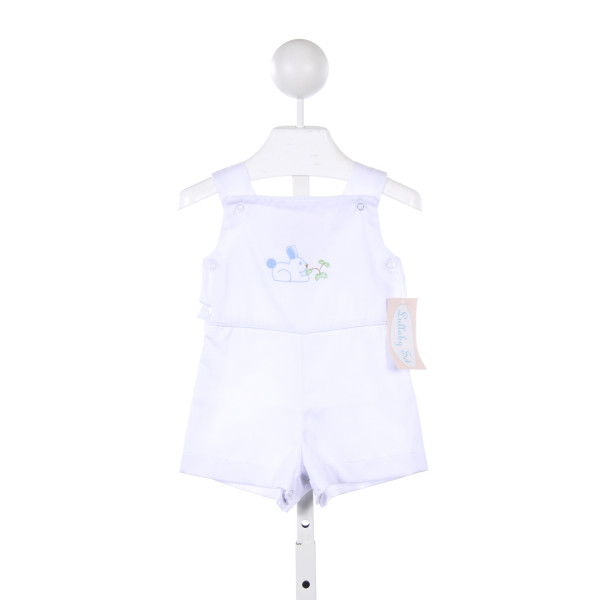 LULLABY SET WHITE SHORTALL WITH EMBROIDERED BUNNY