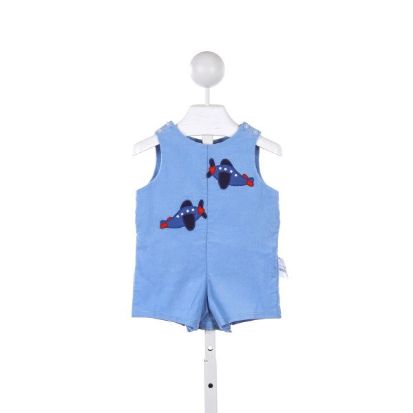 BETTI TERRELL BLUE CORD SHORTALL WITH APPLIQUE PLANES