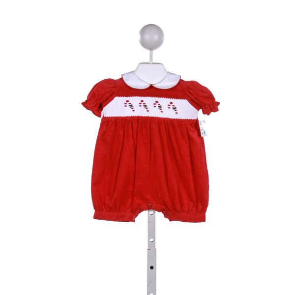 BETTI TERRELL  RED CORDUROY  SMOCKED ROMPER
