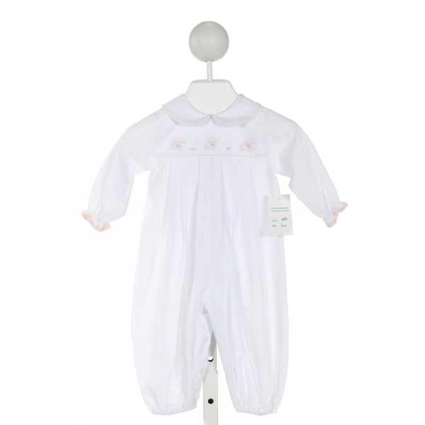 AURALUZ  WHITE   EMBROIDERED ROMPER WITH RUFFLE