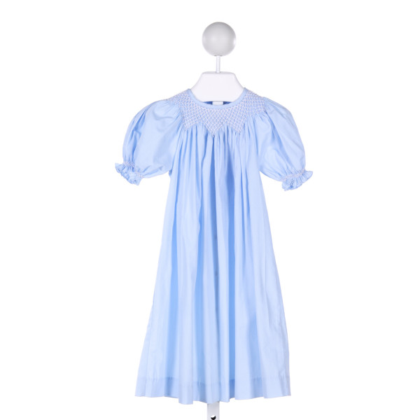 MOM & ME  LT BLUE   SMOCKED DRESS WITH RUFFLE