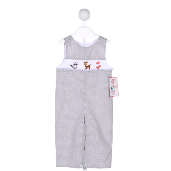 STELLYBELLY  GRAY  GINGHAM SMOCKED LONGALL/ROMPER