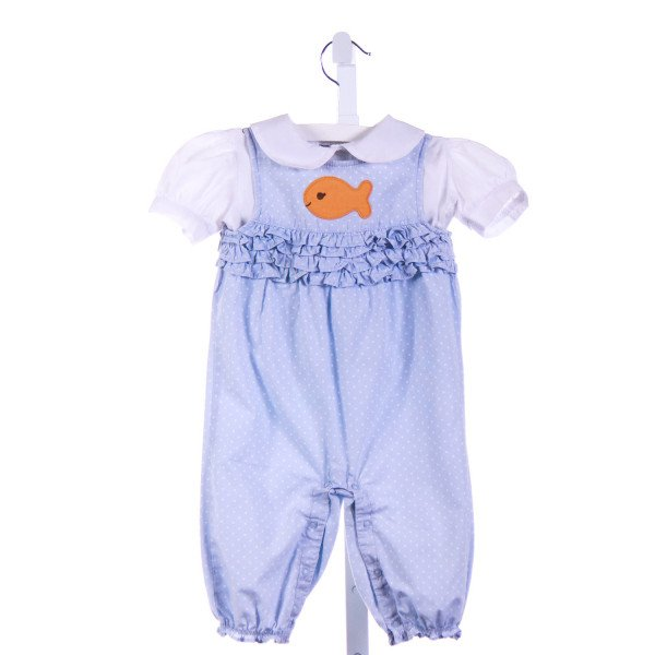 ROYAL KIDZ  LT BLUE  POLKA DOT  2-PIECE OUTFIT WITH RUFFLE