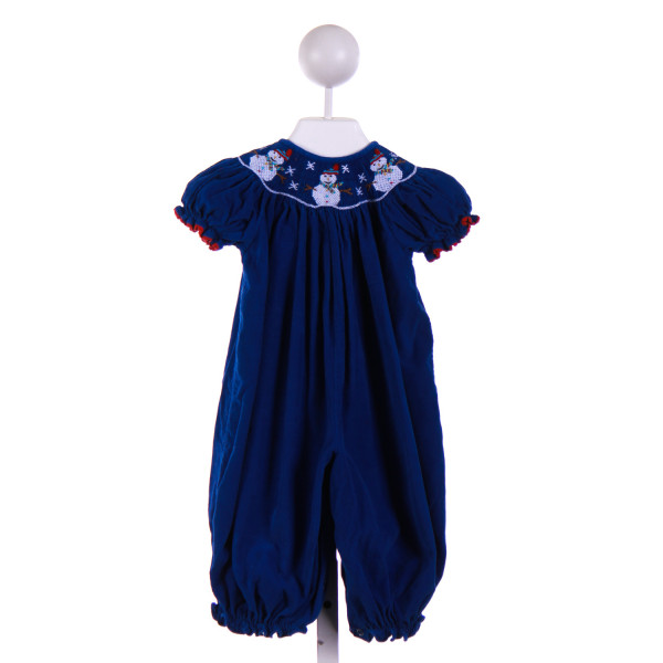 BE MINE  ROYAL BLUE CORDUROY  SMOCKED ROMPER WITH RIC RAC
