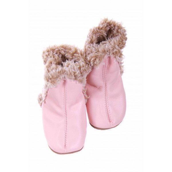ROBEEZ PINKLEATHER BOOTIES WITH FAUX FUR LINING *SIZE 1 *NWT