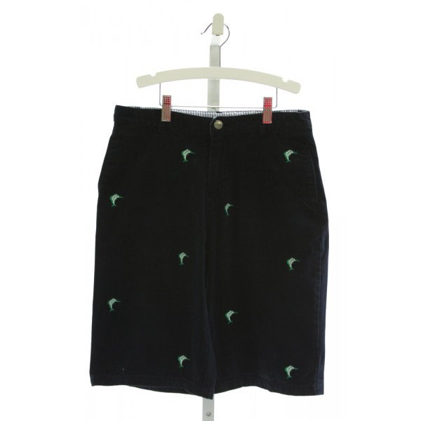 E-LAND  NAVY   EMBROIDERED SHORTS