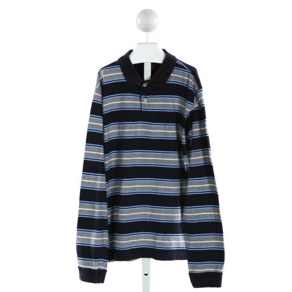 E-LAND  NAVY  STRIPED  KNIT LS SHIRT