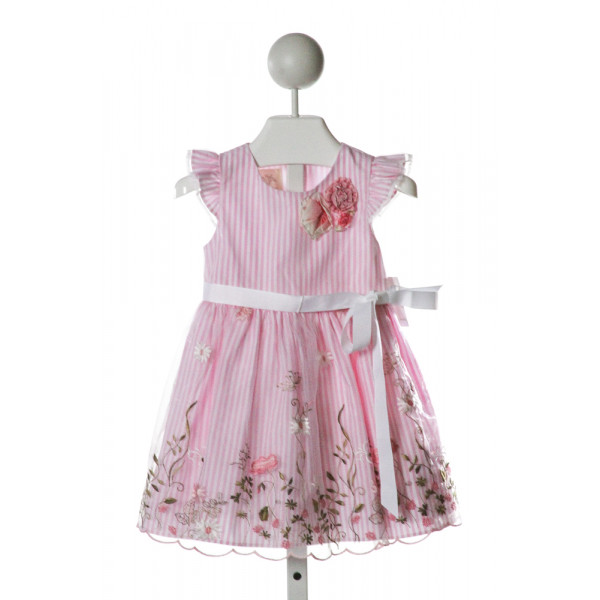 LAURA ASHLEY  PINK  STRIPED EMBROIDERED DRESS WITH RUFFLE