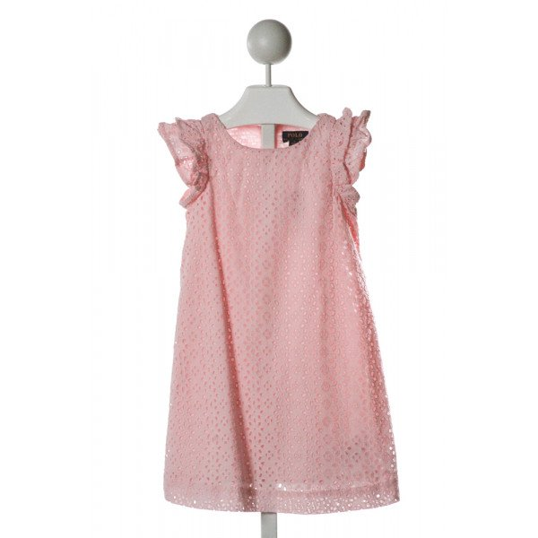 POLO BY RALPH LAUREN  PINK EYELET FLORAL  DRESS WITH RUFFLE