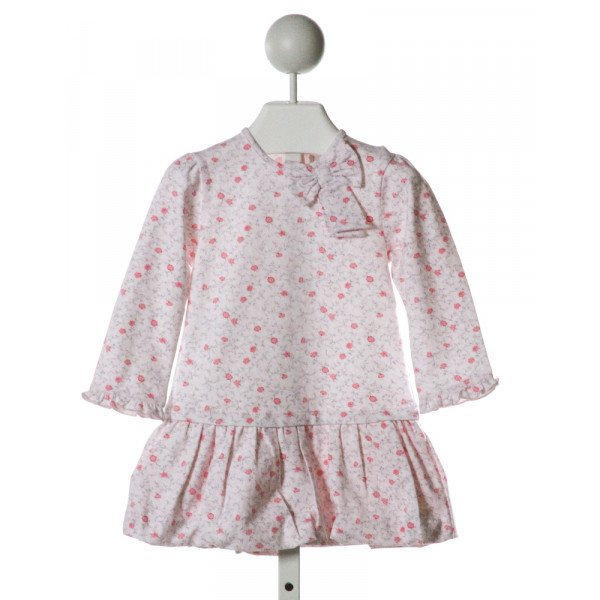 EMILE ET ROSE  LT PINK  FLORAL  KNIT DRESS WITH RUFFLE