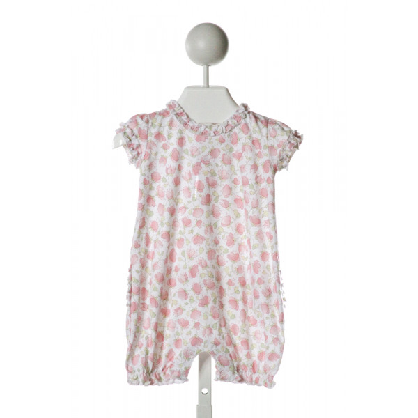 BABYCOTTONS  WHITE  FLORAL EMBROIDERED KNIT ROMPER WITH RUFFLE