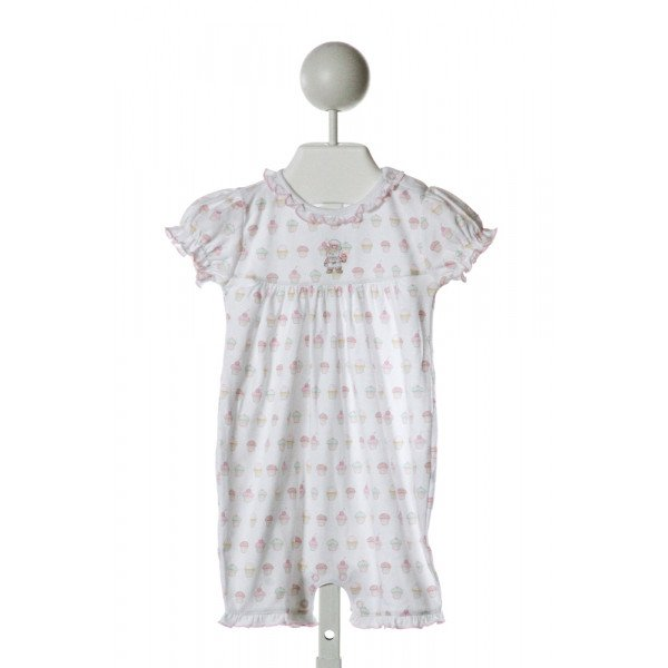 BABYCOTTONS  WHITE  PRINT EMBROIDERED KNIT ROMPER WITH RUFFLE