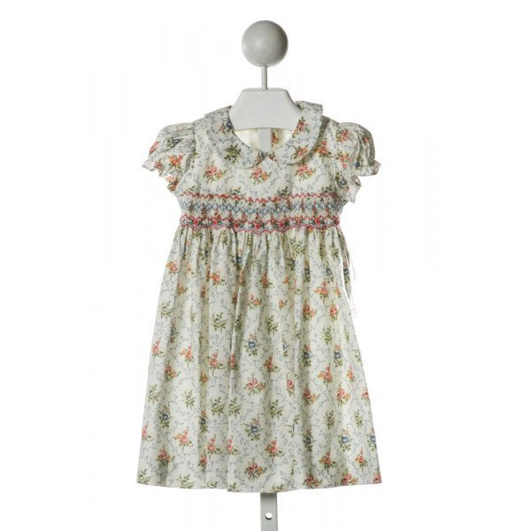 LES PETITS SOLEILS  IVORY  FLORAL SMOCKED DRESS WITH RUFFLE