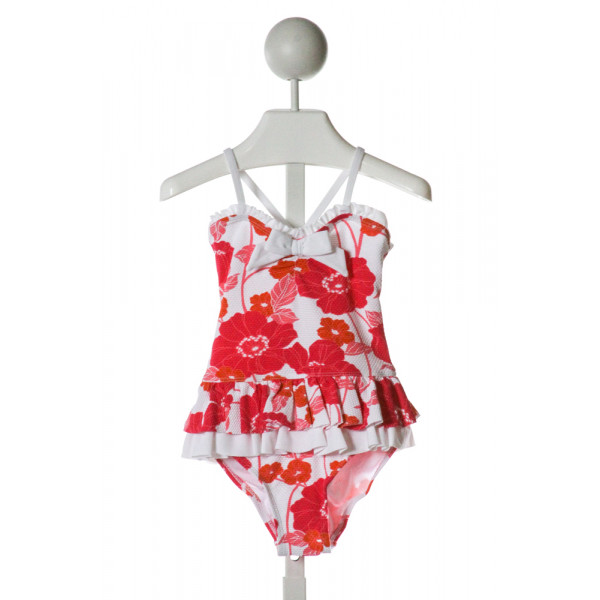 JANIE AND JACK  WHITE PIQUE FLORAL  1-PIECE SWIMSUIT WITH RUFFLE