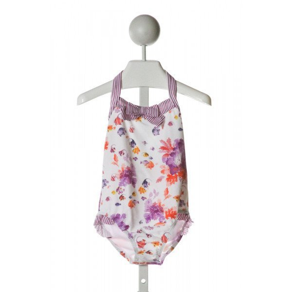 JANIE AND JACK  WHITE   PRINTED DESIGN 1-PIECE SWIMSUIT WITH RUFFLE