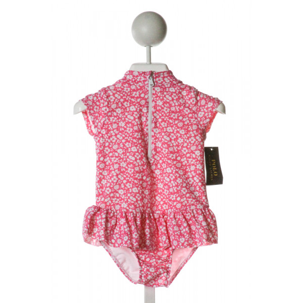 POLO BY RALPH LAUREN  HOT PINK  FLORAL  1-PIECE SWIMSUIT WITH RUFFLE
