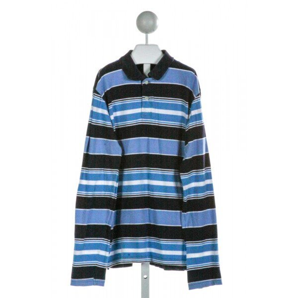 E-LAND  BLUE  STRIPED  KNIT LS SHIRT