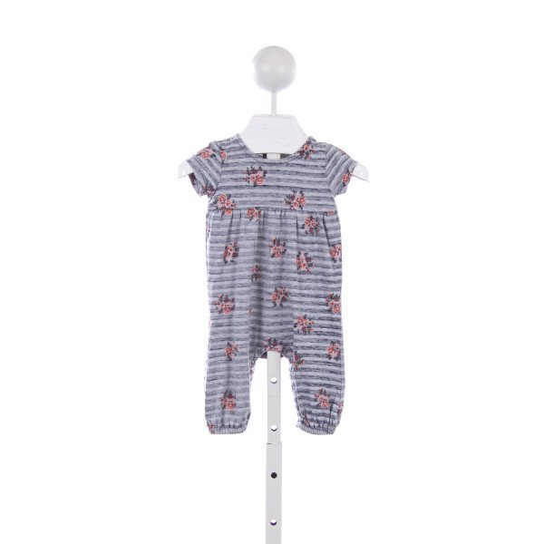 NORDSTROM BABY GRAY STRIPED FLORAL KNIT ROMPER