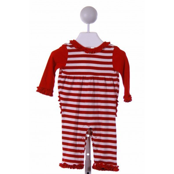 GABIANO  RED  STRIPED  LAYETTE WITH RUFFLE