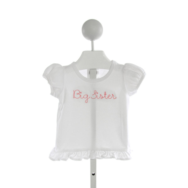 BLANKS BOUTIQUE  WHITE   EMBROIDERED T-SHIRT WITH RUFFLE