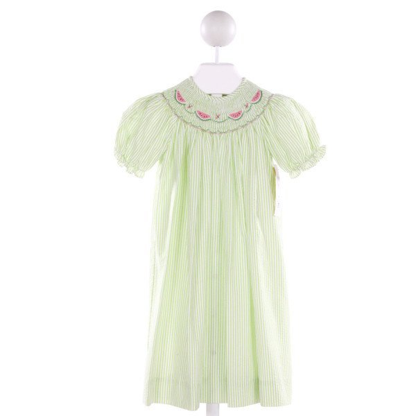 IMAGE WEAR  GREEN SEERSUCKER  SMOCKED DRESS WITH RUFFLE