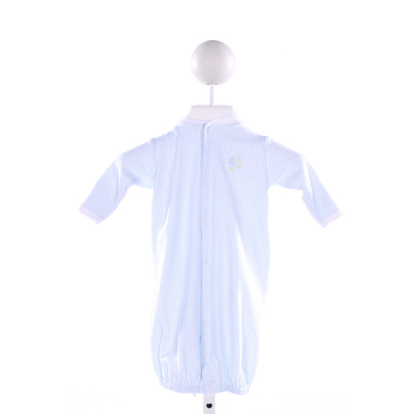 KISSY KISSY  LT BLUE  GINGHAM EMBROIDERED LAYETTE WITH PICOT STITCHING