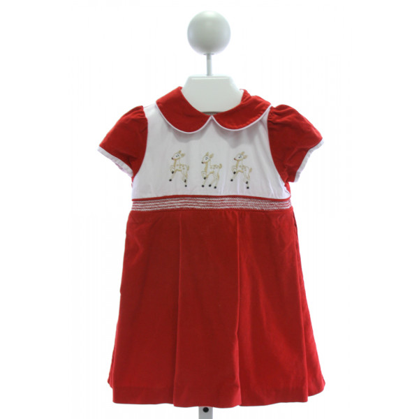 DONDOLO  RED CORDUROY  EMBROIDERED DRESS