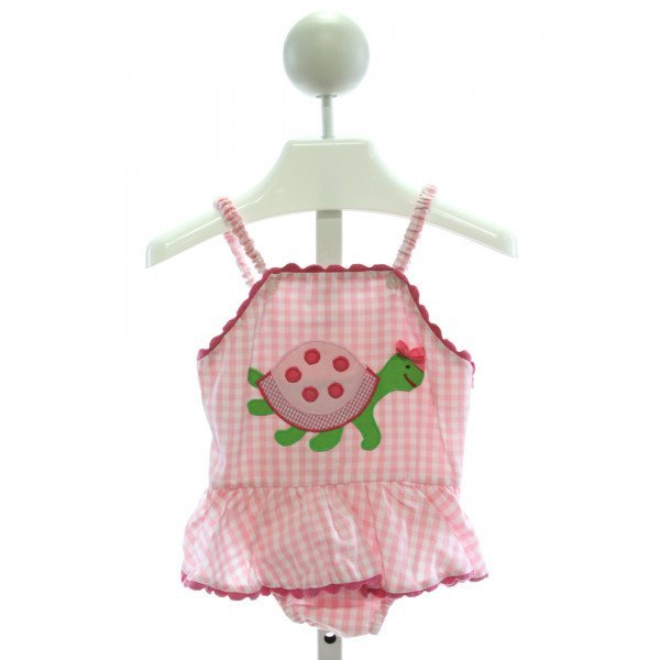 SILLY GOOSE  PINK  GINGHAM EMBROIDERED SWIMSUIT WITH RIC RAC