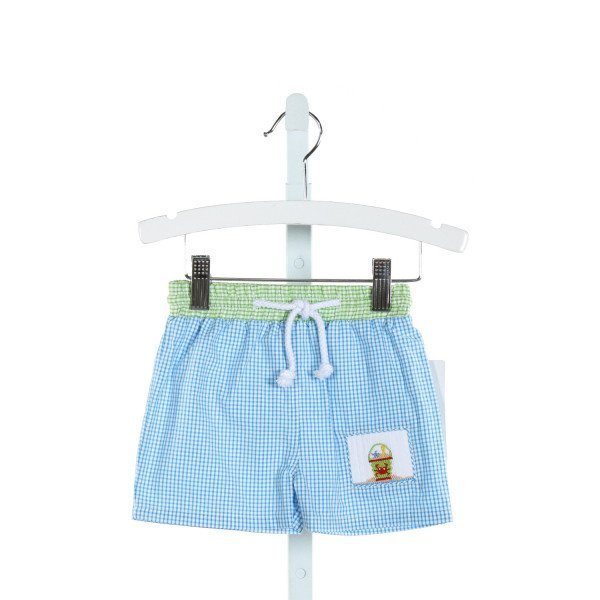 SOUTHERN SUNSHINE KIDS  LT BLUE SEERSUCKER GINGHAM SMOCKED SWIM TRUNKS