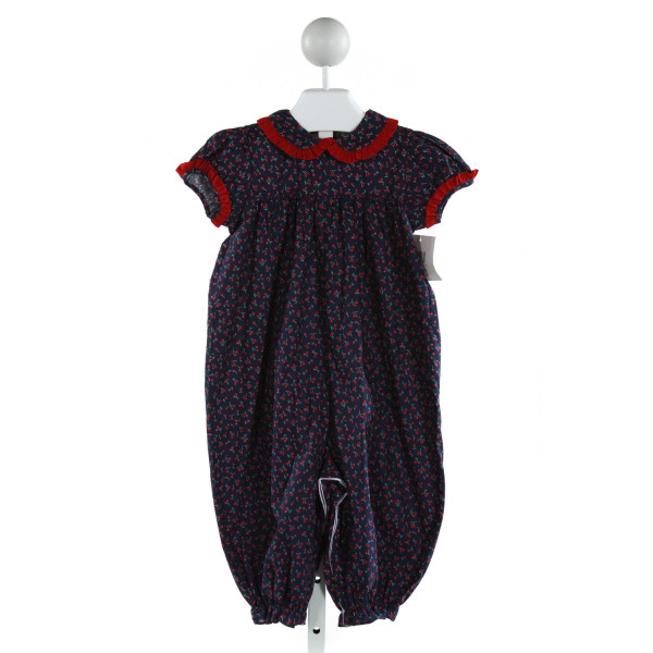JAMES & LOTTIE  NAVY   PRINTED DESIGN ROMPER WITH RUFFLE