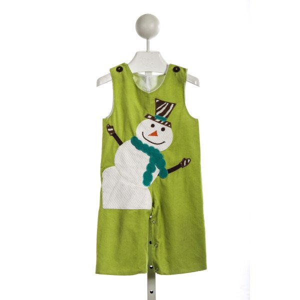 LA JENNS GREEN CORD ROMPER WITH SNOWMAN