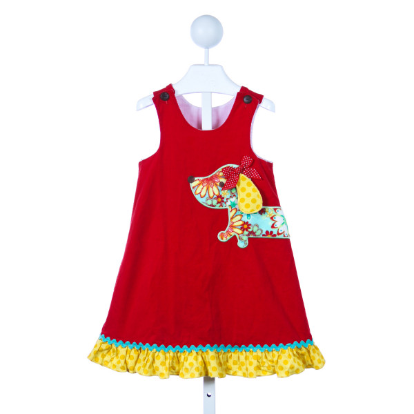 LA JENNS RED CORD DRESS WITH DOG APPLIQUE AND YELLOW RUFFLE TRIM