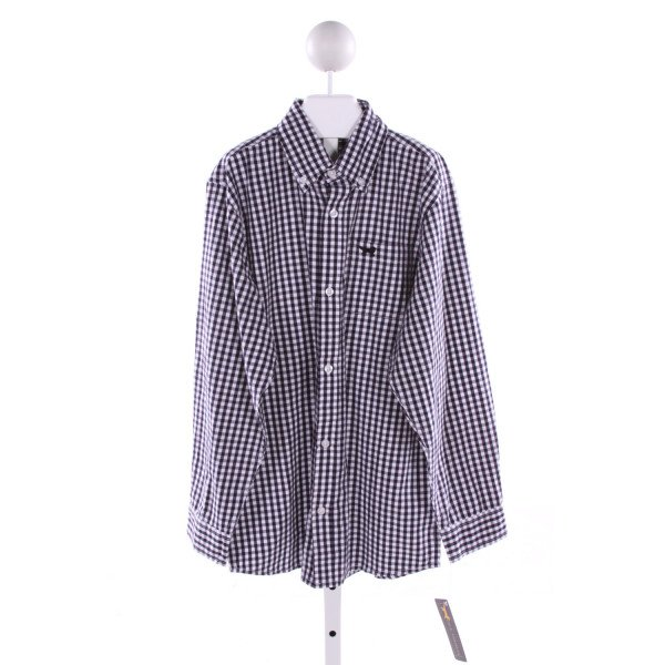 JACK THOMAS   NAVY  GINGHAM  CLOTH LS SHIRT