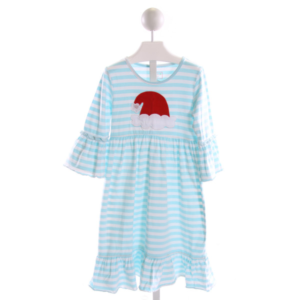SOUTHERN TOTS  LT BLUE  STRIPED EMBROIDERED KNIT DRESS WITH RUFFLE