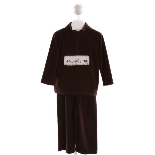 CASTLES & CROWNS  BROWN   SMOCKED 2-PIECE OUTFIT