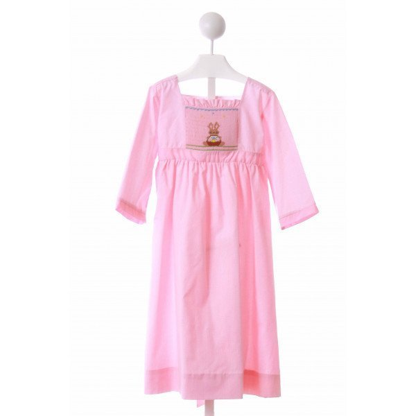 LOLLY WOLLY DOODLE  PINK  MICROCHECK SMOCKED CASUAL DRESS