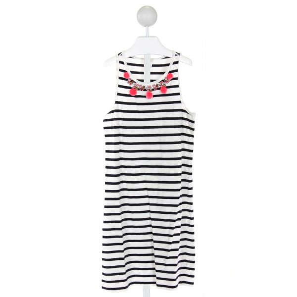 CREWCUTS FACTORY  IVORY  STRIPED APPLIQUED KNIT DRESS