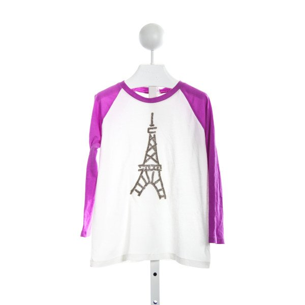 CREWCUTS FACTORY PURPLE AND WHITE TEE WITH SILVER EIFFEL TOWER