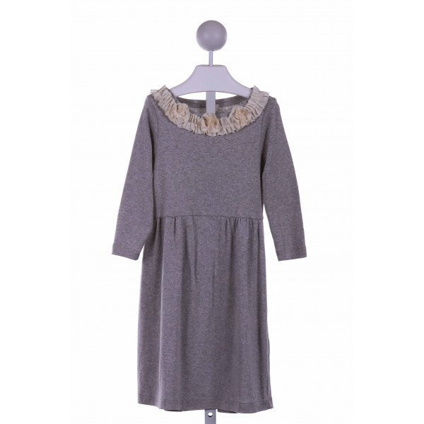 CREWCUTS FACTORY  GRAY    CASUAL DRESS WITH RUFFLE