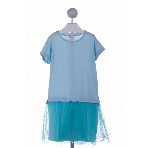 CREWCUTS FACTORY  AQUA    KNIT DRESS WITH TULLE