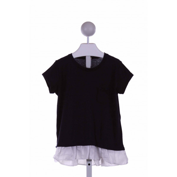 CREWCUTS FACTORY  NAVY    KNIT SS SHIRT WITH RUFFLE