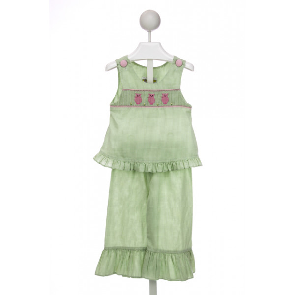CASTLES & CROWNS GREEN GINGHAM SMOCKED SET